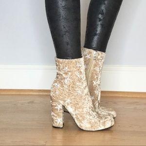 Wild Diva crushed velvet star ankle boots
